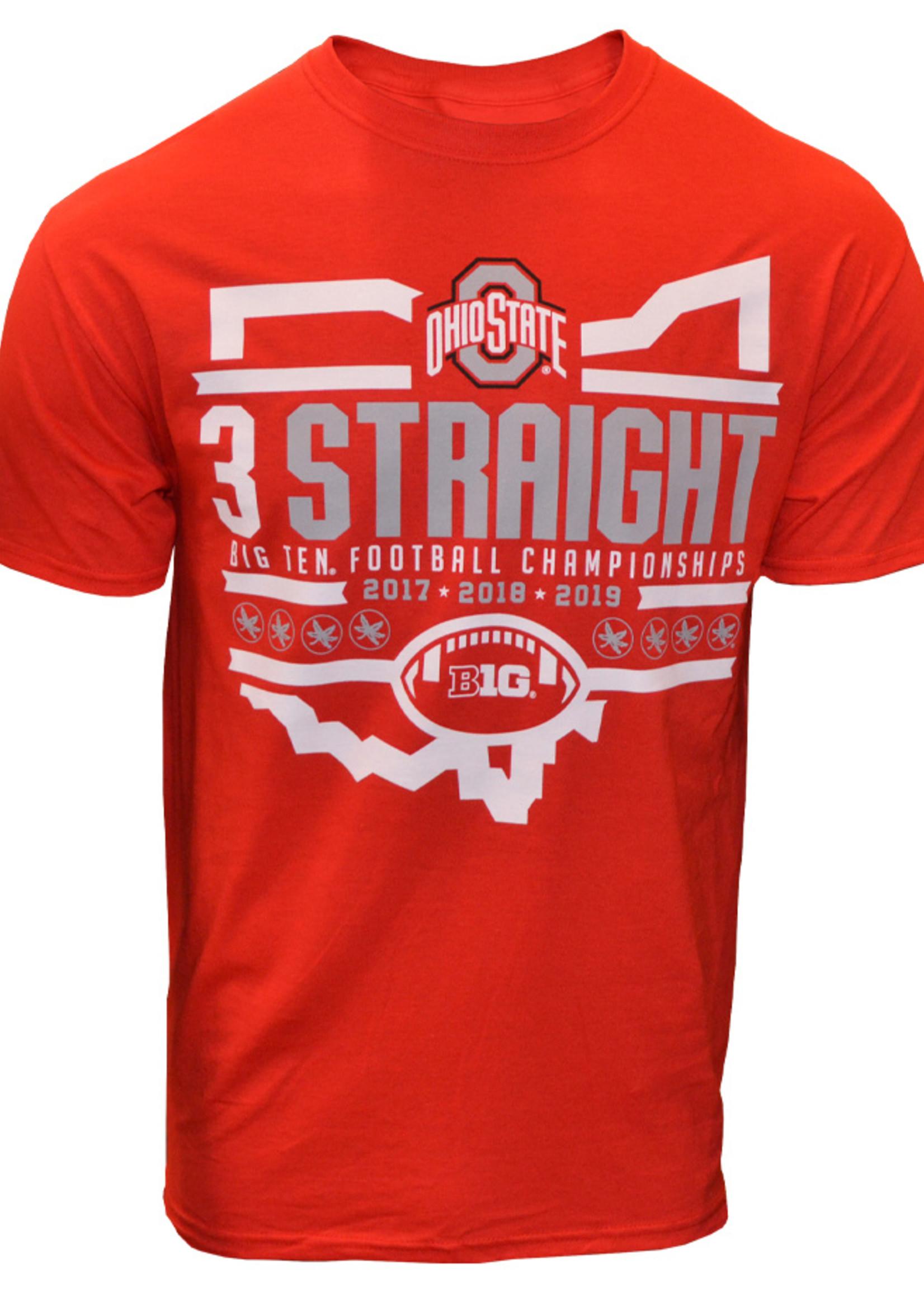 Ohio State 3 Straight Big Ten Champs Schedule Tee