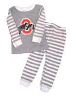 Ohio State Buckeyes Kids Stripe Pajamas - Gray/White