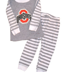 Ohio State Buckeyes Kids Stripe Pajamas - Gray/White