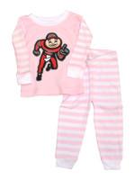 Ohio State Buckeyes Kids Stripe Pajamas - Pink/White