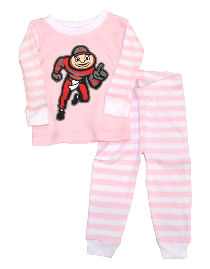 Ohio State Buckeyes Kids Stripe Pajamas - Pink/White
