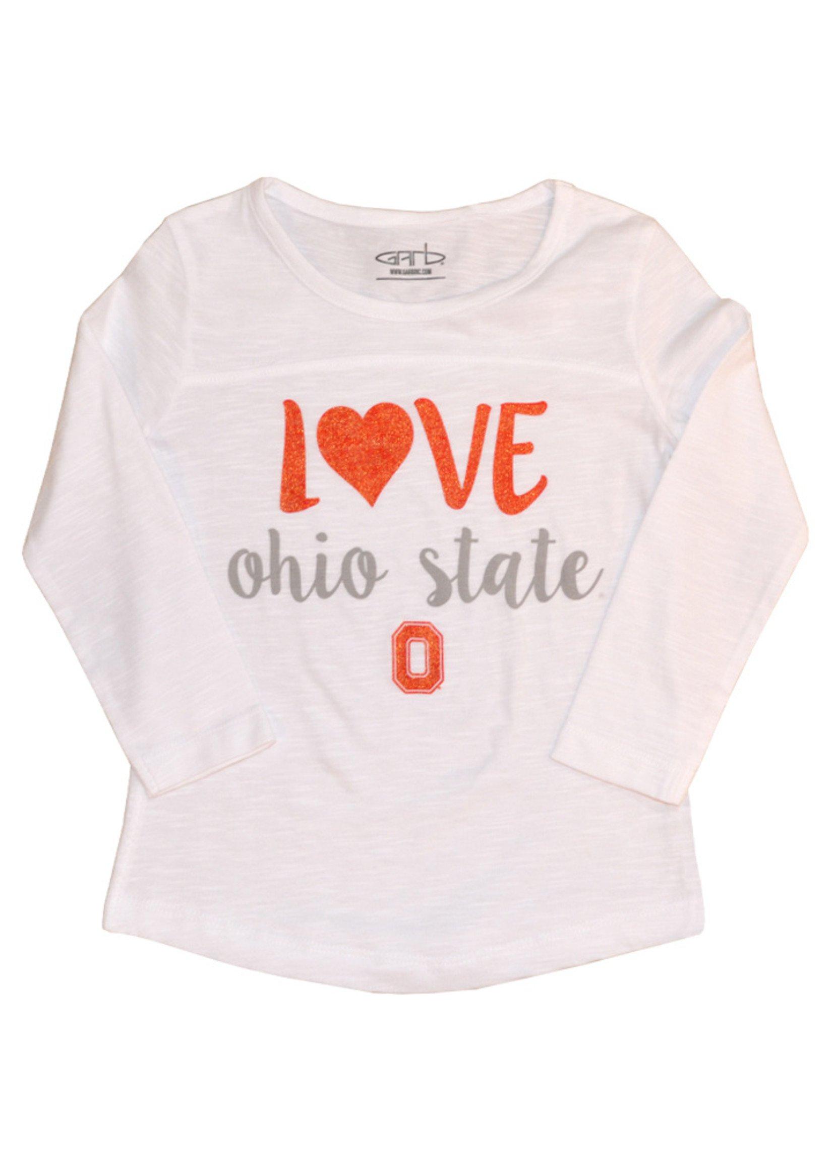 """Love"" Ohio State Toddler Girls Long Sleeve"