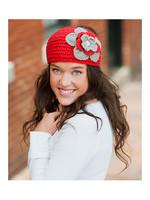 Red & Gray Flower Head Wrap