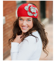 Red & Gray Flower Head Wrap