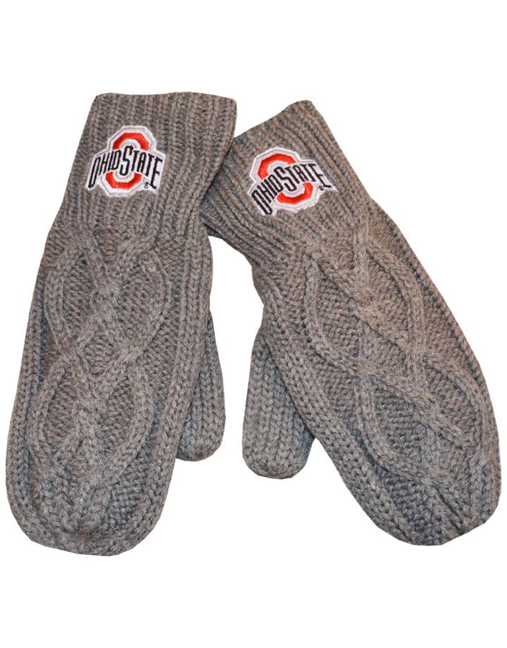 Ohio State Buckeyes Gray Knit Mittens