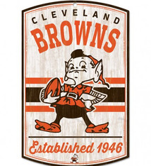 """Wincraft Cleveland Browns Retro 11"""" x 17"""" Wood Sign"""