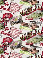 "Ohio State Buckeyes Cotton Fabric - Fat Quarter 27""x18"""