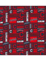 """Cleveland Indians Cotton Fabric - Fat Quarter 27""""x18"""""""