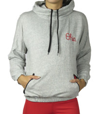 "Bend Ohio State ""Block O"" Patchwork Snorkel Neck Hoodie/Heather Grey"