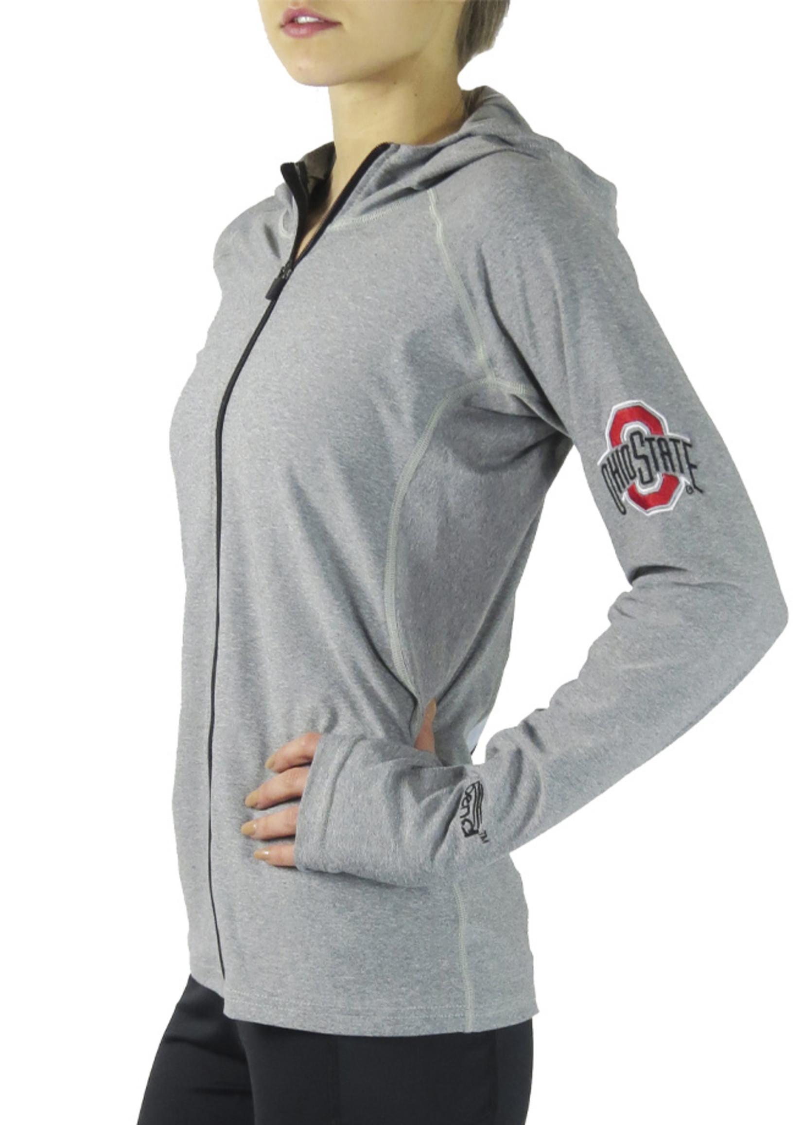 Bend Ohio State Buckeyes Womens Pony Tail Performance Hoodie/Grey