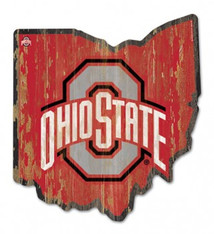 Wincraft Ohio State Buckeyes State Shaped Wood Sign