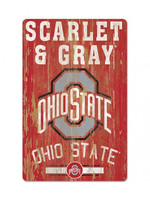 "Wincraft Ohio State Buckeyes Scarlet & Gray Wood Sign 11"" x 17"""