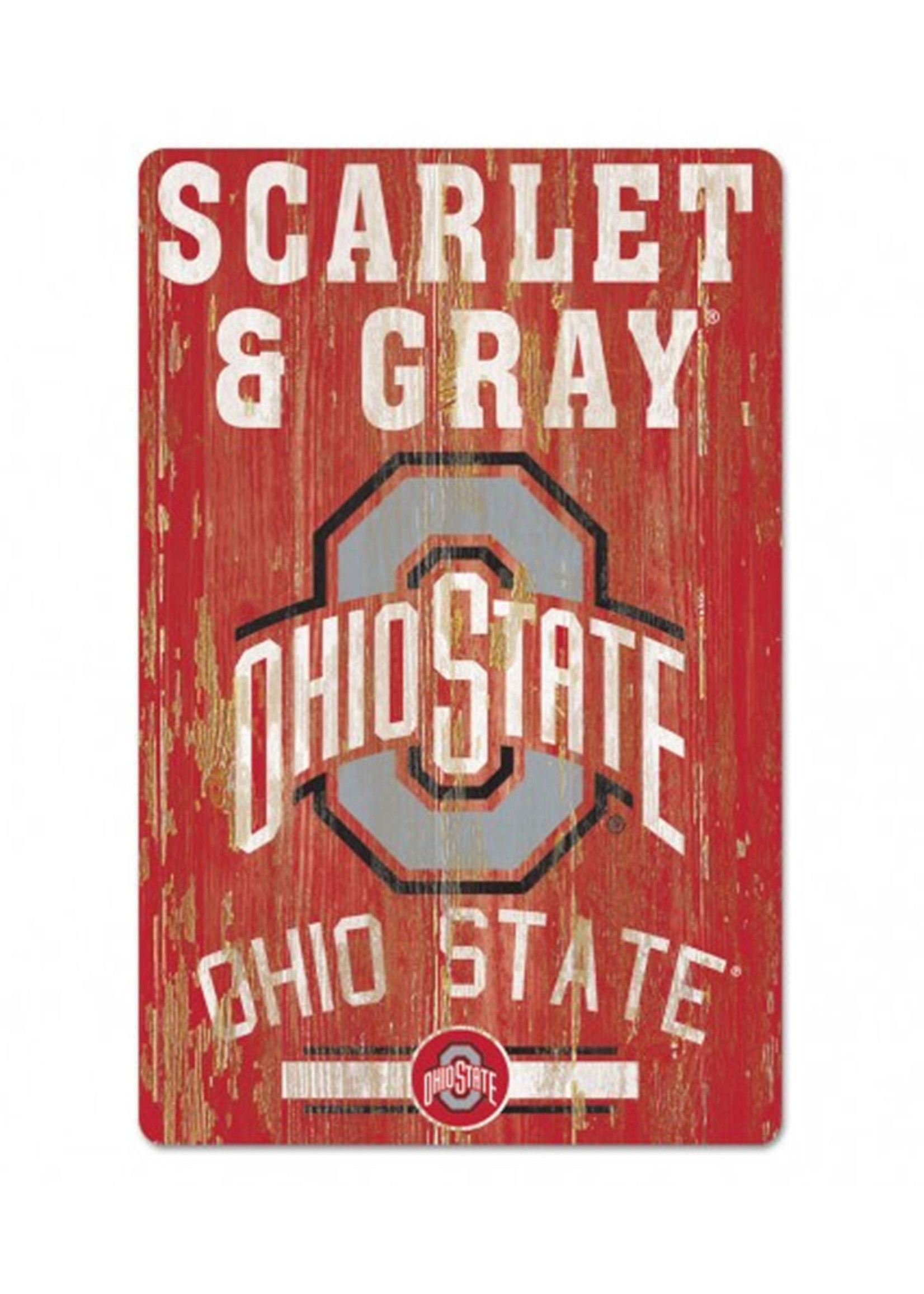 "Wincraft Ohio State Buckeyes Scarlet & Gray Wood Sign 11"" x 17"""