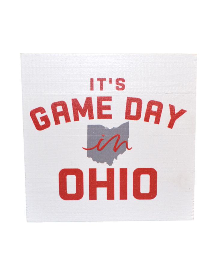 Ohio Gameday Wood Block