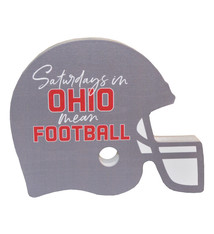Ohio Saturdays Mean Football Wood Helmet