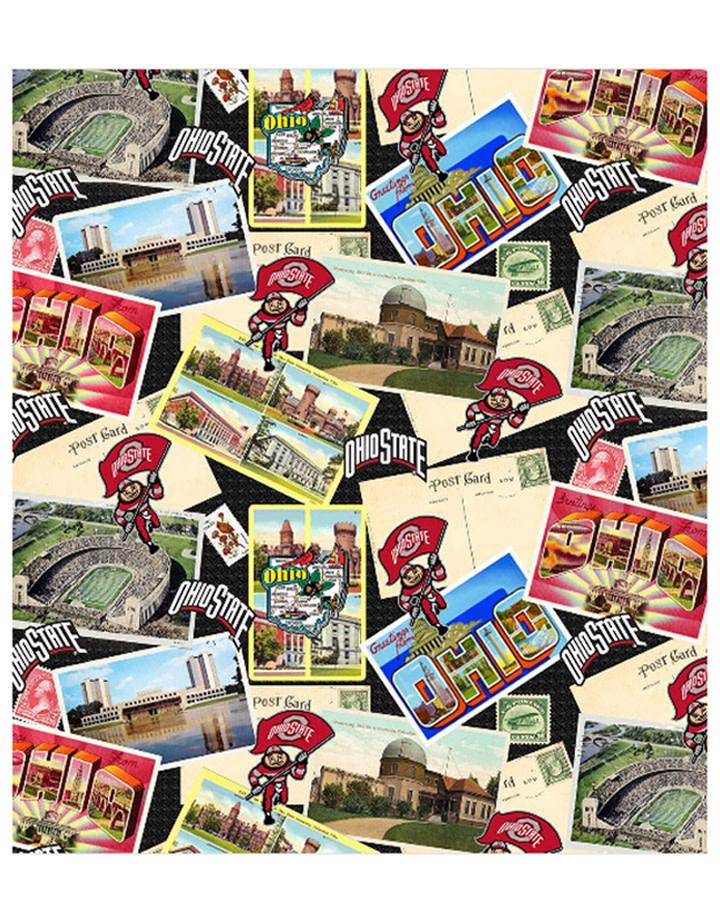 "Ohio State Buckeyes Cotton Fabric Scenic Postcard - Fat Quarter 27""x18"""