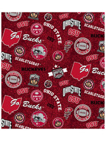 "Ohio State Buckeyes Cotton Fabric Home State - Fat Quarter 27""x18"""