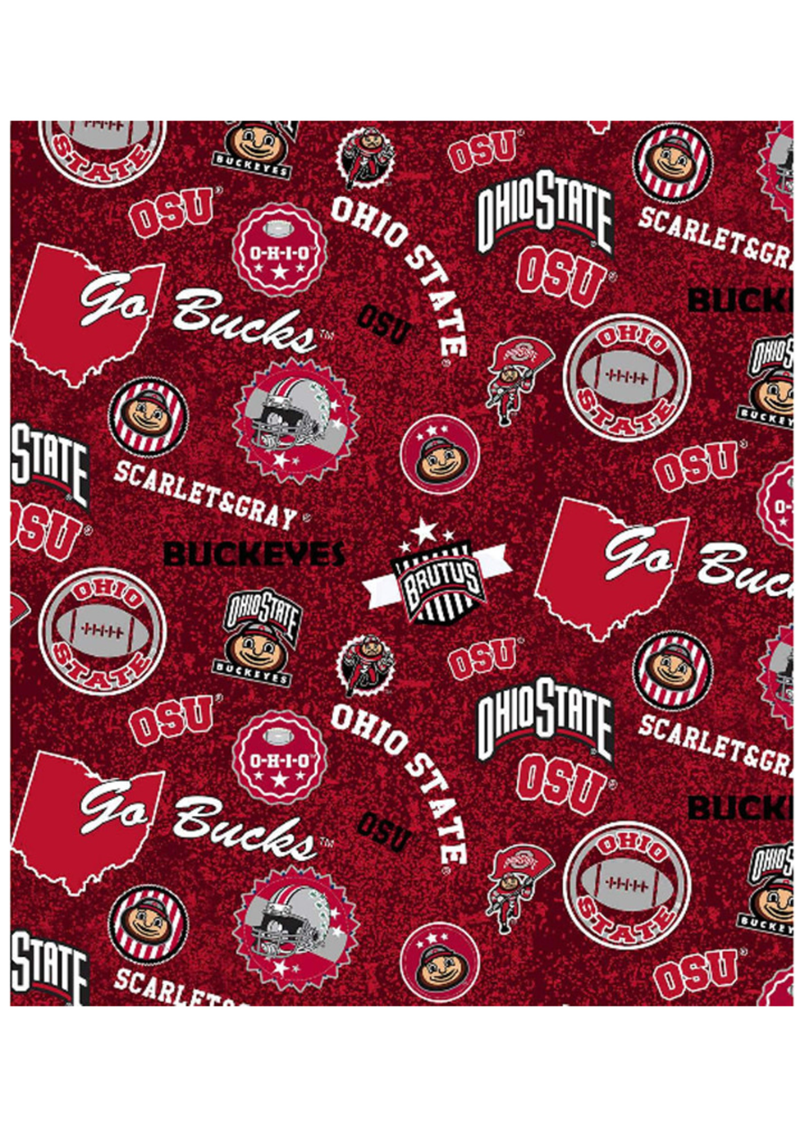 """Ohio State Buckeyes Cotton Fabric Home State - Fat Quarter 27""""x18"""""""