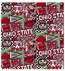 "Ohio State Buckeyes Cotton Fabric Pop Art - Fat Quarter 27""x18"""