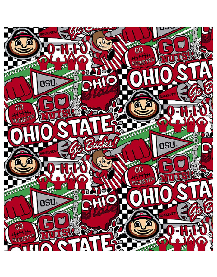 "Ohio State Buckeyes Cotton Fabric Pop Art - Fat Quarter 27""x18"""