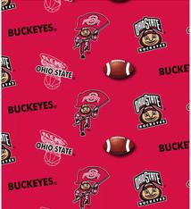 "Ohio State Buckeyes Cotton Fabric Red  - Fat Quarter 27""x18"""