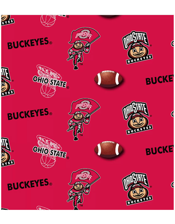 "Ohio State Buckeyes Cotton Fabric Red  - Fat Quarter 27""x18"""
