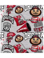 """Ohio State Buckeyes Cotton Fabric Collegiate Mascot - Fat Quarter 27""""x18"""""""