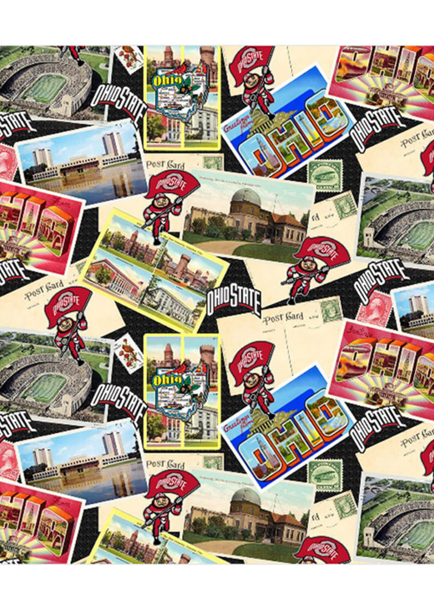 Ohio State Buckeyes Cotton Fabric Scenic Postcard - 2 YardsX45inches