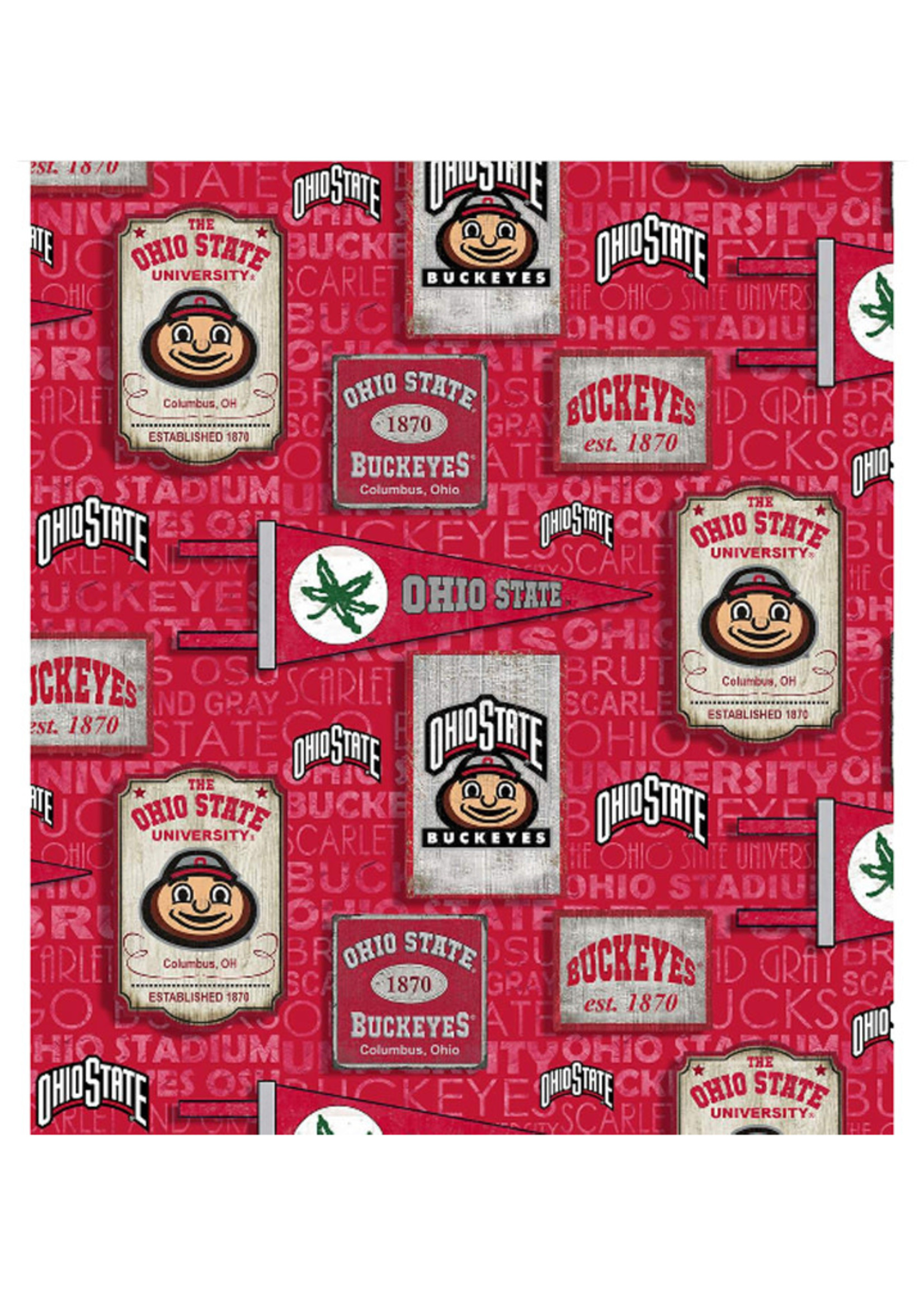 Ohio State Buckeyes Cotton Fabric Vintage Pennant - 2 YardsX45inches
