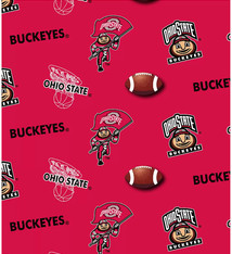 Ohio State Buckeyes Cotton Fabric Red - 2 YardsX45inches