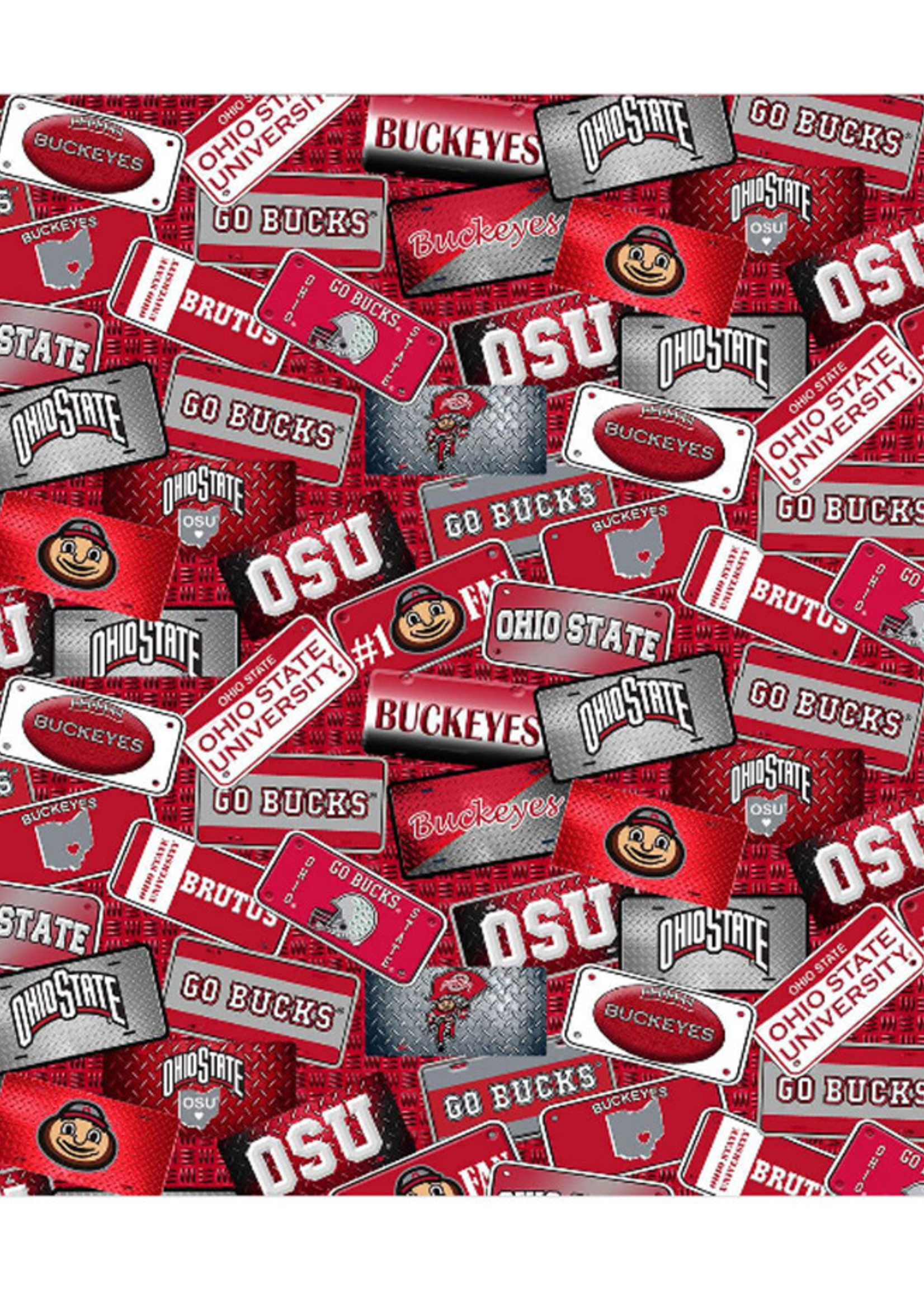Ohio State Buckeyes Cotton Fabric License Plate - 2 YardsX45inches