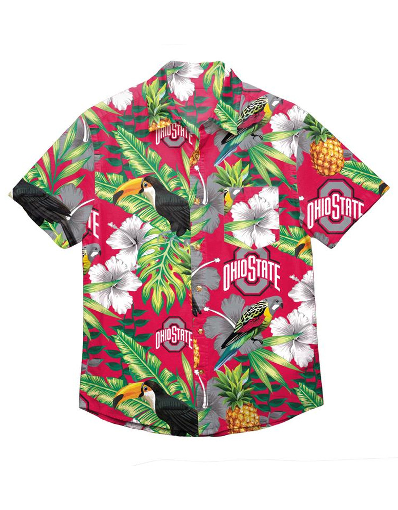 Ohio State Buckeyes Floral Button Up Shirt