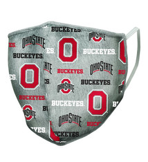 Ohio State Buckeyes All Over Logo Gray Face Covering - Adult