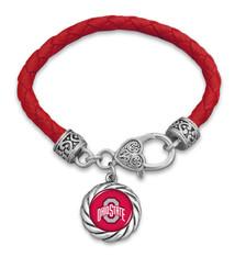 Ohio State Buckeyes Bracelet- Harvey Leather Twisted Rope