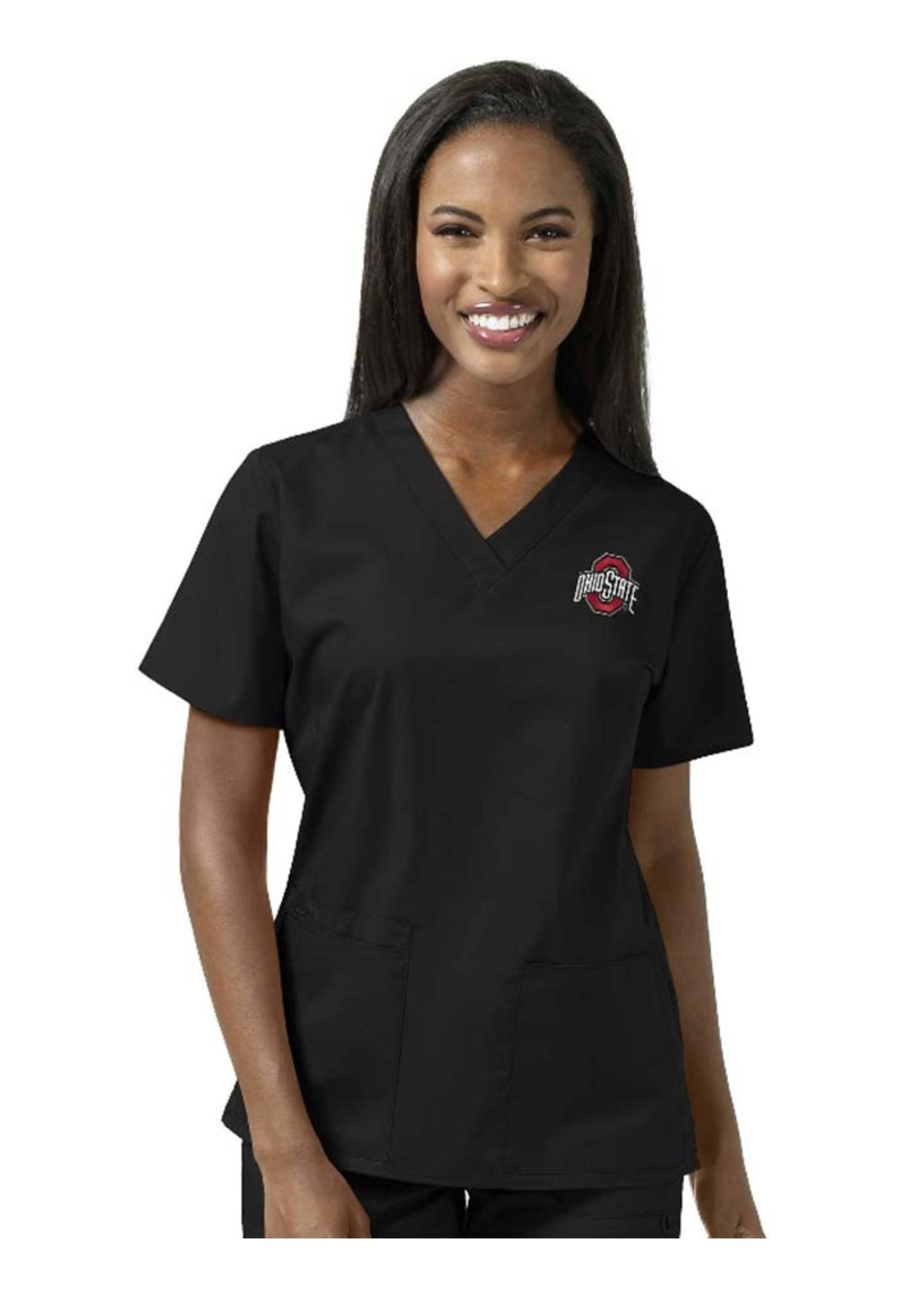 Wonder Wink Scrubs Ohio State Buckeyes Women's Scrubs V-Neck Top