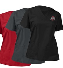 WONDER WINK SCRUBS Ohio State Buckeyes Women's Scrubs V-Neck Top