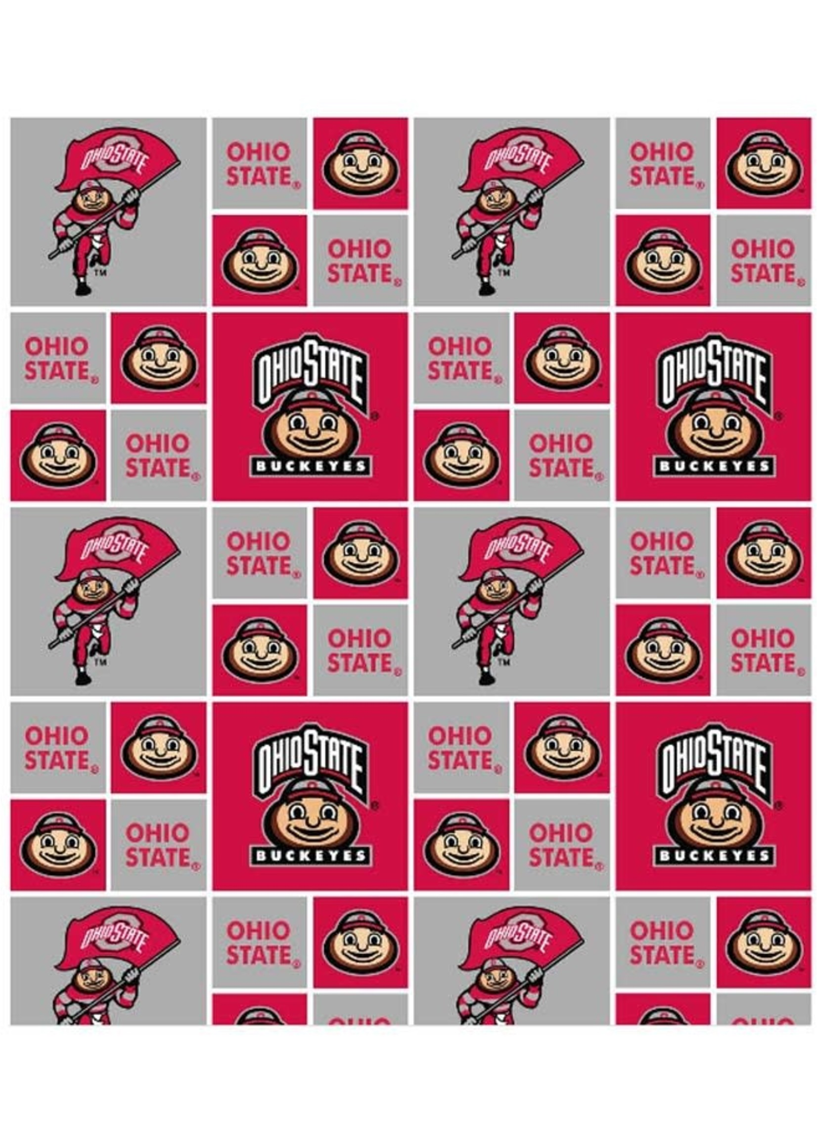 Ohio State Buckeyes Scarlet & Gray Cotton Fabric - 2 YardsX45inches