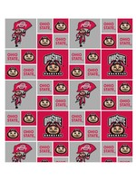 "Ohio State Buckeyes Scarlet & Gray Cotton Fabric - Fat Quarter 27""x18"""