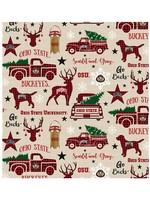 """Ohio State Buckeyes Holiday Cotton Fabric Red - Fat Quarter 27""""x18"""""""