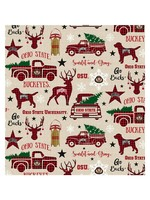 "Ohio State Buckeyes Holiday Cotton Fabric Red - Fat Quarter 27""x18"""