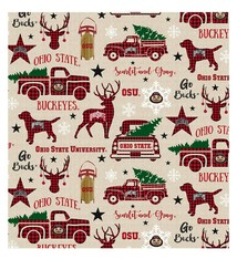 Ohio State Buckeyes Holiday Cotton Fabric Red - 2 YardsX45inches