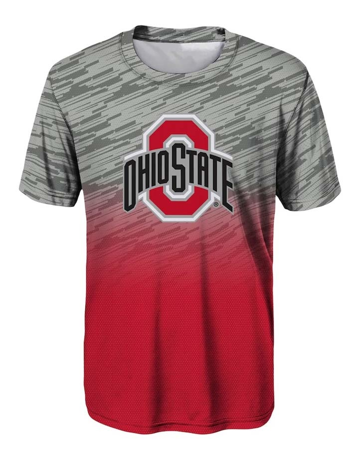 Ohio State Buckeyes Youth Gray/Scarlet Stadium Gradient T-Shirt