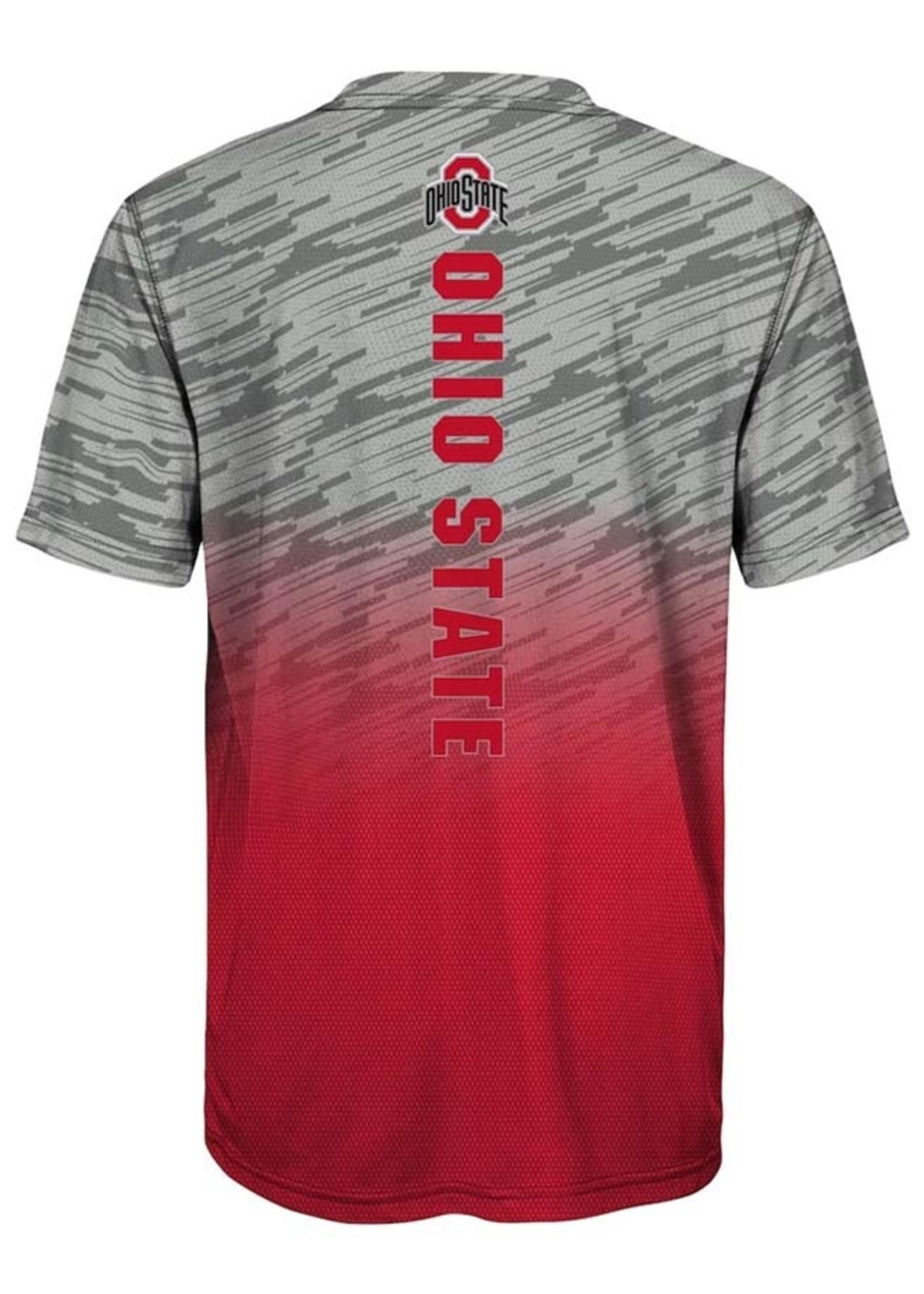 Ohio State Buckeyes Youth Gray/Scarlet Stadium Gradient T-Shirt