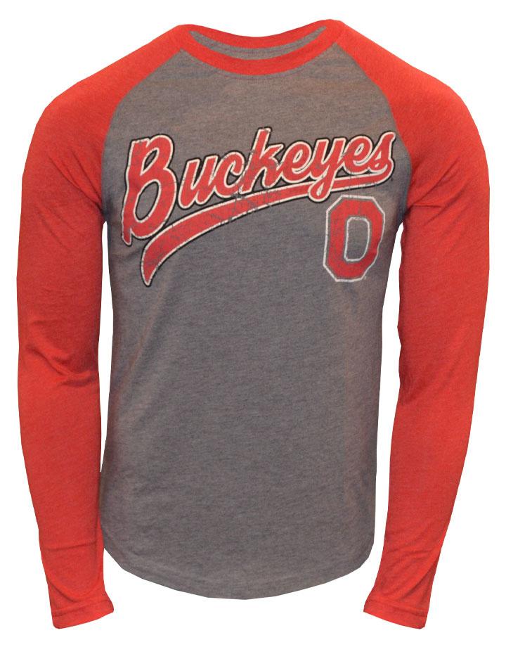 Ohio State Buckeyes Scarlet & Gray Long Sleeve Tee