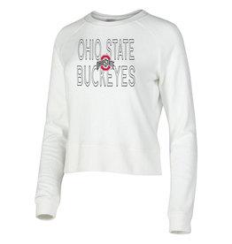Ohio State Buckeyes Womens White Colonnade Crew Sweatshirt