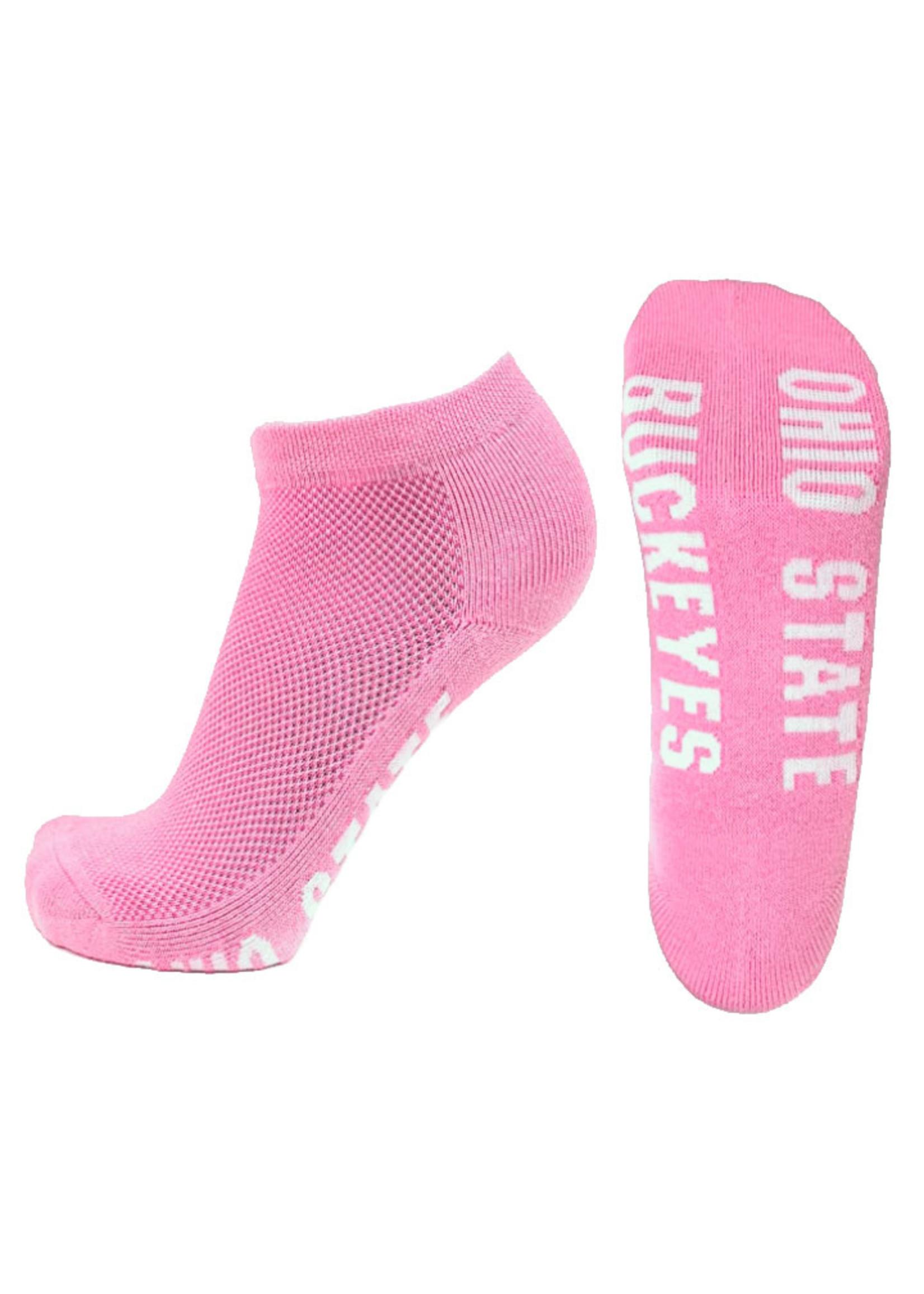 Ohio State Buckeyes Pink No Show Footie Socks