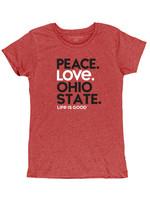 Ohio State Buckeyes Women's Peace Love Tee
