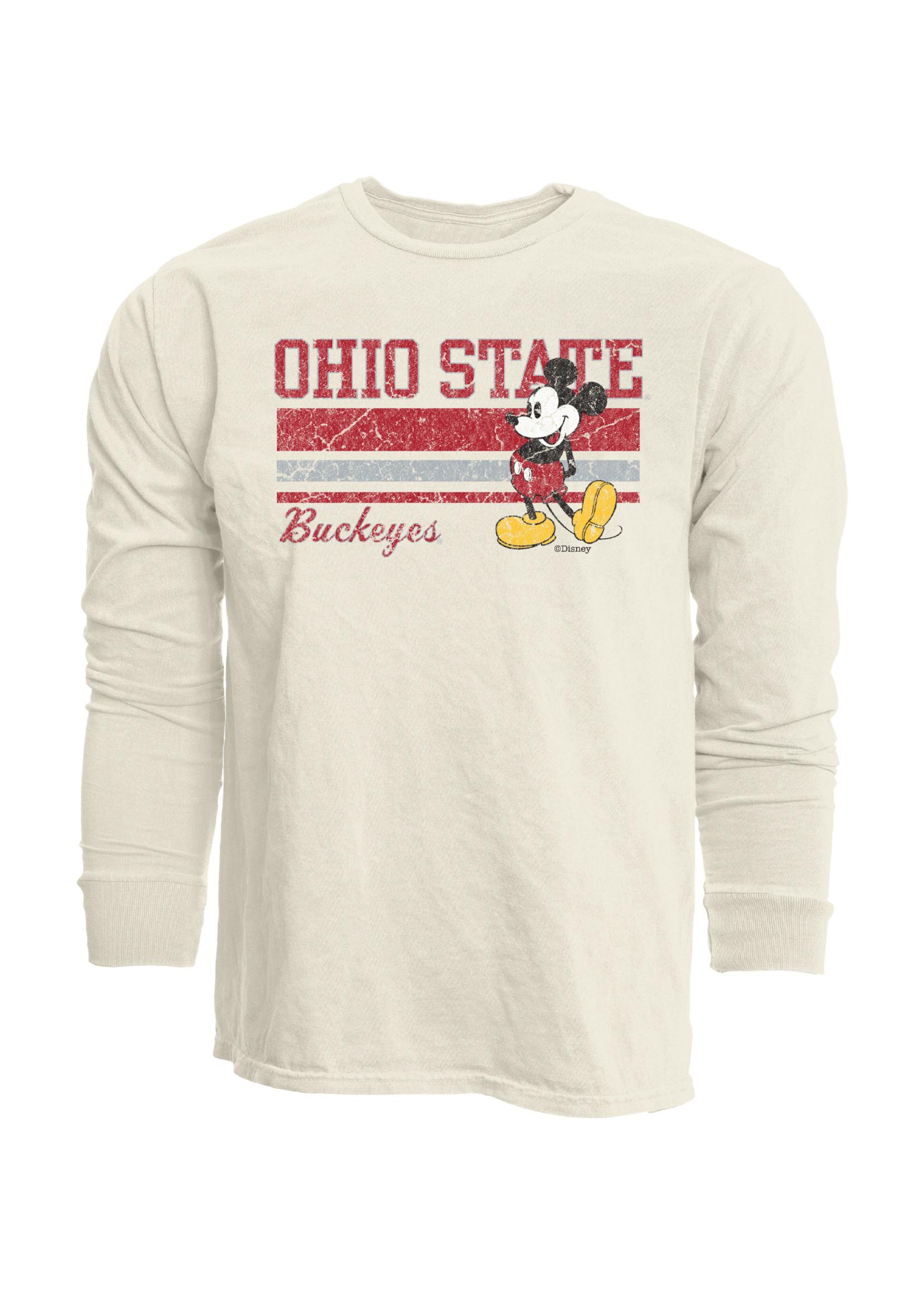 Ohio State Buckeyes Mickey Mouse Ivory Long Sleeve