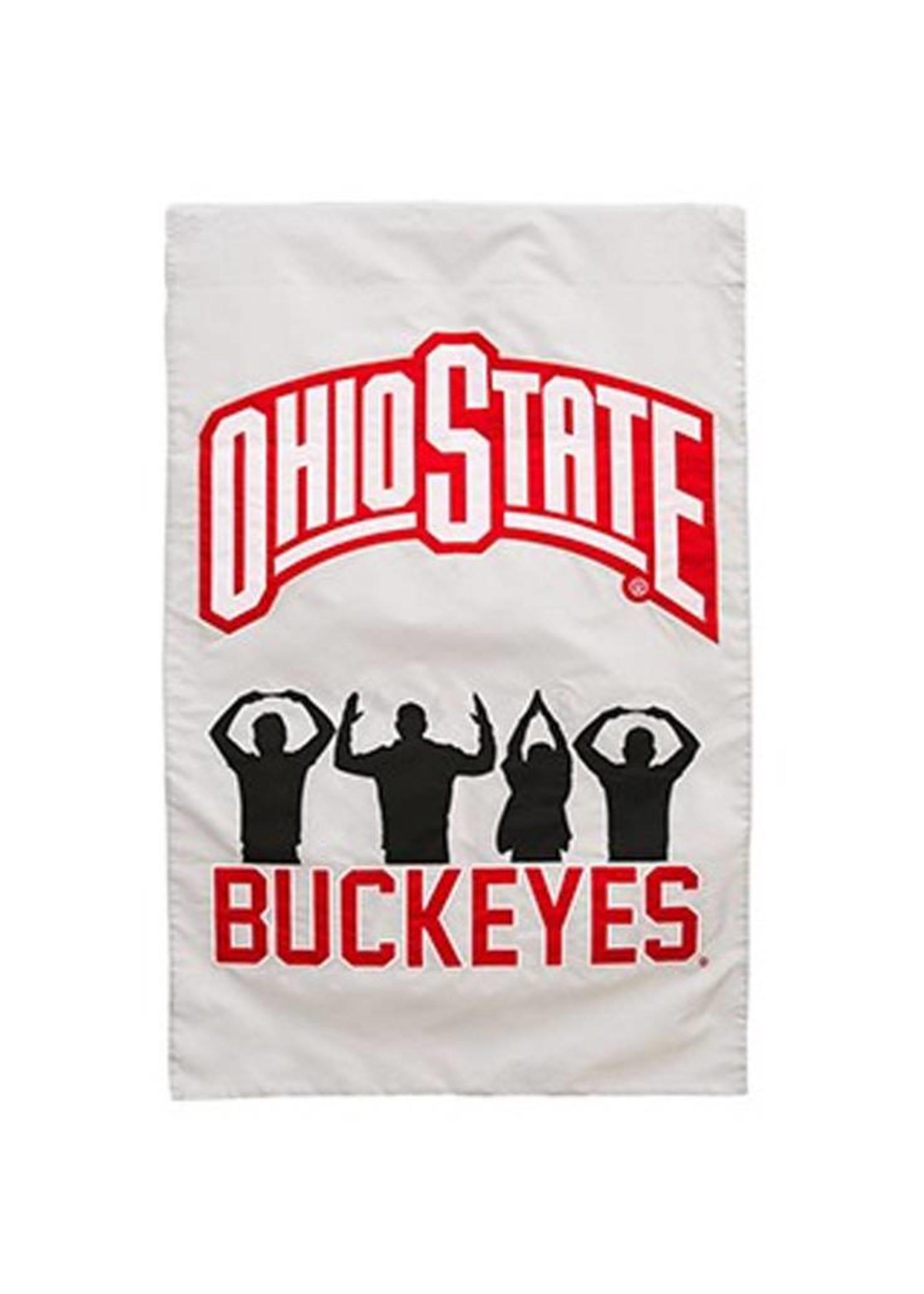 Ohio State University O-H-I-O People Silhouette Double-Sided Applique Flag
