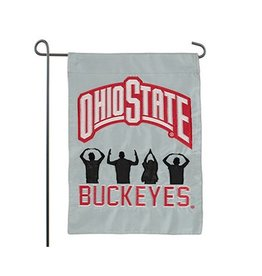 Ohio State University O-H-I-O People Silhouette Garden Flag